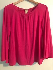 Chicos Womens Bell Sleeve Knit Top Size 1 (M) Pink Long Sleeve