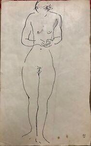 Vladimir V. Lebedev; Lovely Russian Avant Garde Ink Line Drawing of Nude, 1926
