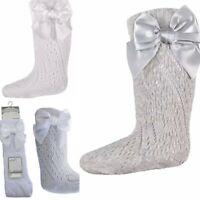 Baby Girls BOW Pellerine Socks Knee High white Grey Pink
