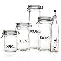 Large Glass Storage Jar With Air Tight Sealed Metal Clamp Lid Tall Kitchen Cruet