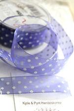 (0,50€/m)  3m zartes Organza Dekoband lila violett Punkte Pünktchen 25mm
