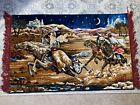 "Vintage Wall Tapestry Rug Arabian Nights Horses 37""x23"" Small Rare EUC"