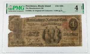 1863 $1 Manufacturers NB of Providence, RI Fr #380a Graded by PMG as Good 4 Net
