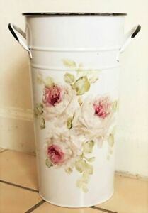 French Roses metal shabby hand painted chic roses vintage flowers bucket white
