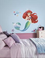 "LITTLE MERMAID BiG WALL DECALS 39"" Glittery Princess Ariel Stickers Disney Decor"