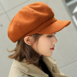 Solid Color Woolen Beret Hat Women High Quality Thick Warm Daily Wear Hat Winter