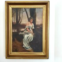 ANTIQUE ORIGINAL OIL ON CANVAS VICTORIAN WOMAN PORTRAIT NEAR LAKE IN FOREST
