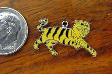 Zoo Safari Jungle Enamel charm Wells Vintage silver Tiger Cat Lsu Hamilton