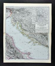 1892 Stieler Map Adriatic Sea Italy Croatia Dalmatia Ancona Chieti - Rome Plan