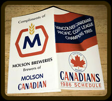 1986 VANCOUVER CANADIANS MOLSON BEER BASEBALL POCKET SCHEDULE NMMT CONDITION