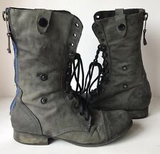 Steve Madden Cablee Green Distressed Leather Lace Up Zip Combat Boot Size 8.5 M