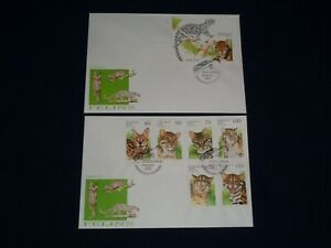 1996 Benin Big Cats Felines Lynx 2 FDC Covers Including Minisheet Full Stamp Set