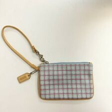 Coach blue plaid clutch wristlet