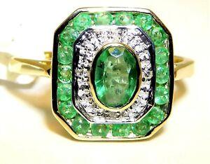 9ct Gold Ring Emerald Diamond Art Deco Design Cluster size M 9 Carat Yellow Gold
