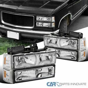 For 94-99 GMC C10 C/K 1500 2500 Sierra Yukon Clear Headlamps+Bumper Corner