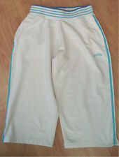 'REABOK'COTTON/POLYESTER/ELASTANE, WHITE/TURQ, CROPPED SPORTS TROUSERS-SIZE 12