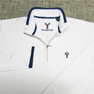 THE HAMPTONS POLY SPANDEX  1/4 ZIP GOLF PULLOVER--L-LOBSTER--EXCEPTIONAL QUALITY