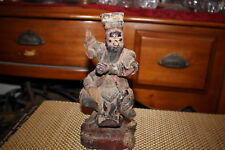 Antique Chinese Buddhist Wood Carving-Elderly Man Riding Animal-Spiritual