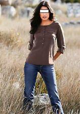 Figurbetonte 3/4 Arm Damenblusen, - tops & -shirts ohne Kragen