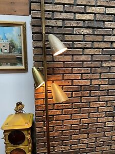 Vtg MID-CENTURY MODERN ATOMIC TENSION POLE LIGHT 3 LAMP Swag 1970s Cone Eames