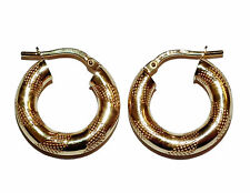 Stamped 375, 9ct Yellow Gold Fancy Patterned Hollow Hoop Earrings