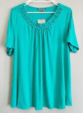 BNWT Womens Sz 22+ Target Brand Belle Curve Macrame Detail Green Tunic Top