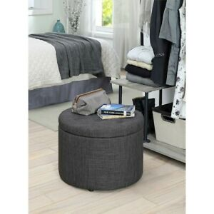 Convenience Concepts Designs4Comfort Round Shoe Ottoman, Gray Fabric - 161546FGY