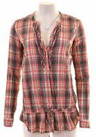 REPLAY Womens Shirt Blouse Size 12 Medium Multi Check Cotton  DJ13