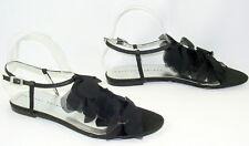 Black Silver 8.5 M Thong Sandals Rhinestones Sexy Chiffon New Martinez Valero