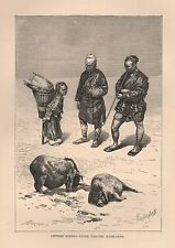 1885 Ca ANTIQUE PRINT ELISEE RECLUS : CHINESE MINERS UPPER YANGTSE HIGHLANDS