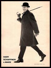 1960 Hart Schaffner & Marx Dapper Man In Suit Derby Hat Topcoat Gloves Print Ad