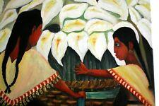 Tableau toile peinture acrylique Femmes préparant un bouquet fleurs blanches