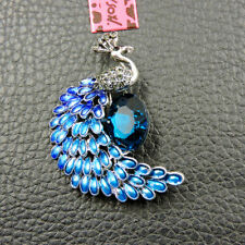 Johnson Charm Brooch Pin Gifts Hot Blue Enamel Rhinestone Peacock Betsey