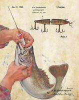 Vintage Creek Chub Fishing Lures Patent Art Print Bass Tourney Cabin Wall Decor