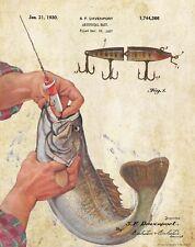 Vintage Creek Chub Jointed Pikie Minnow Fishing Lure Patent Art Print PAT446