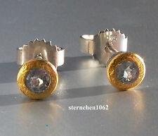 Ausgefallene Ohrringe * Ohrstecker  *  925 Silber * 24 ct Gold  * Aquamarin