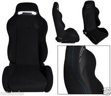 2 BLACK CLOTH + BLUE STITCH RACING SEATS RECLINABLE + SLIDERS VOLKSWAGEN NEW **