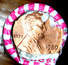 1980 D OBW LINCOLN MEMORIAL CENT ROLL -ORIGINAL BANK WRAPPED-