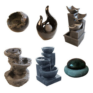 SOLAR POWERED WATER FEATURES RESIN STONE EFFECT GARDEN ORNAMENTS DECORATIVE
