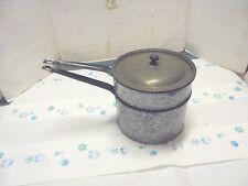 enamelware pan double boiler gray and black spatter pattern farm kitchen decor