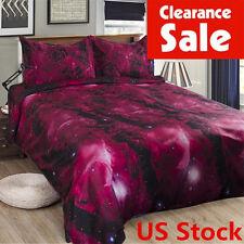 US Stock 3in1 3D Galaxy Floral Single Bedding Set Sheet Duvet Cover Pillowcase