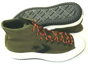 Converse Mens Bosey MC Hi Water Repellent Boots Olive Green Orange Size 10 NEW