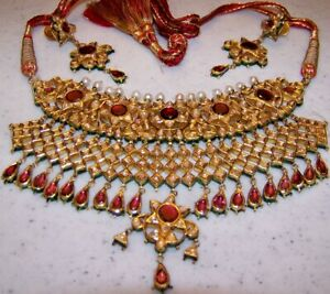 22 KT with Diamonds, Garnet and Pearl Necklace and Earring Set Appraised $69000