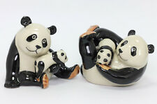 Miniature Ceramic Panda Family Figurine Statue for Decorative Collectiblesd