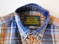Camel Adventure Wear Herren Hemd Langarm Orange/Blau Kariert Gr. M