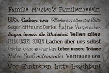 Fußmatte Familienregeln mit Namen Waschbar Geschenk Famlie Schmutzfangmatte Herz