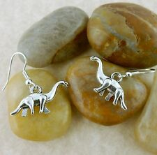3D Brontosaurus jurasic dinosaur pewter dangle earrings