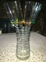 """4 Handblown Glass 16 3/4"""" Long Twist Stem Champagne Wine Color Flute Set w/ Vase"""