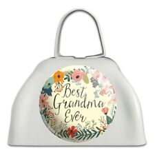 Best Grandma Ever Floral White Metal Cowbell Cow Bell Instrument
