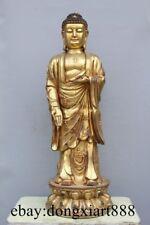 """38"""" Chinese Bronze Gild Stand Lotus Shakyamuni Tathagata Sakyamuni Buddha Statue"""